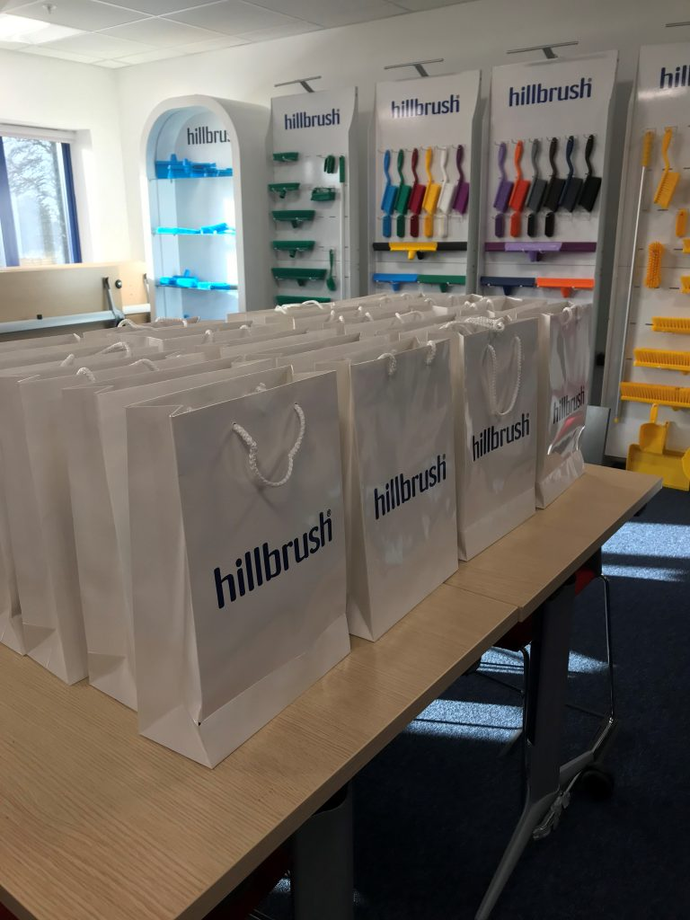 Branded bags with Hillbrush company information in - Octopus Personnel Recruitment Day at Hillbrush