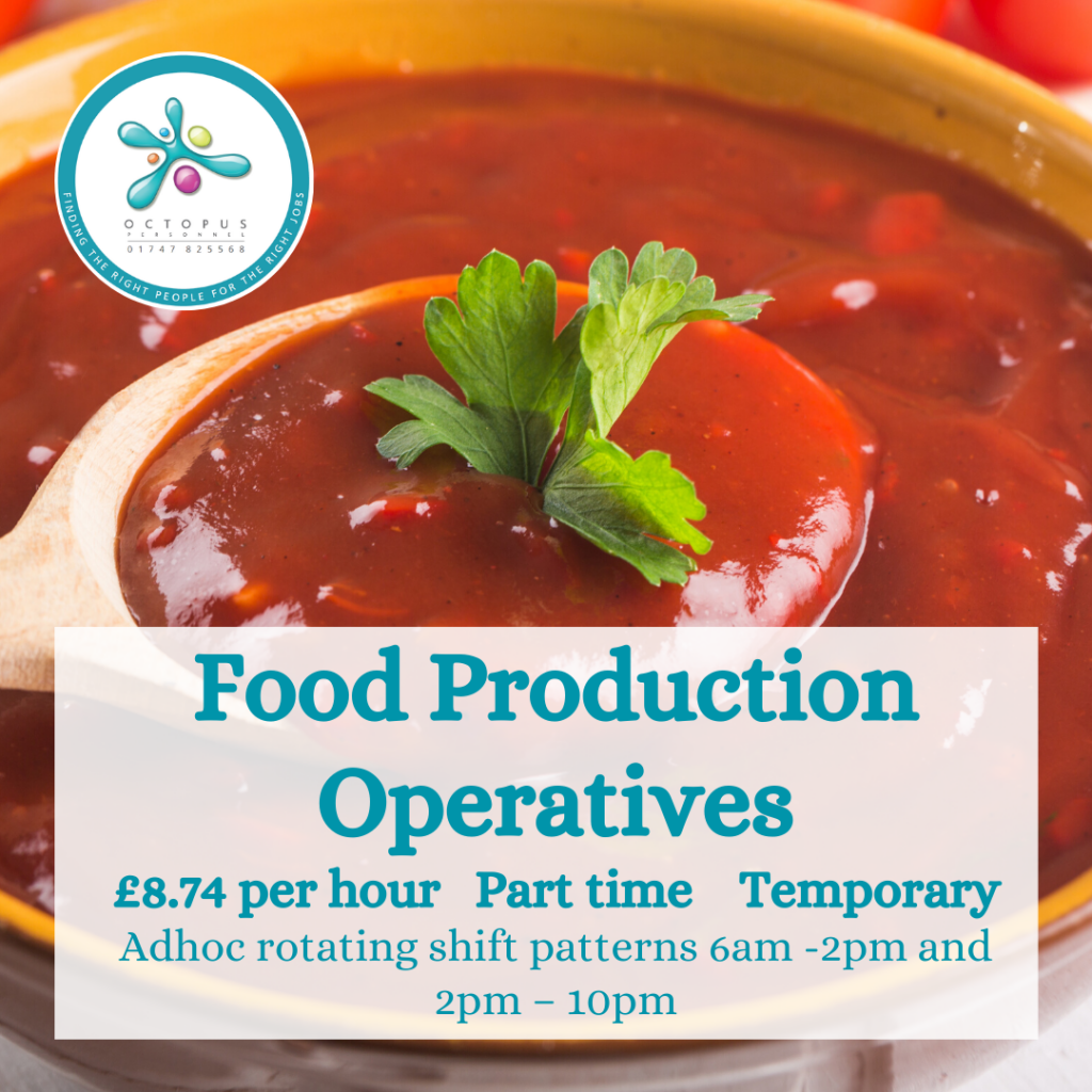 Bowl of thick tomato sauce with garnish - Food Production Operatives Octopus Personnel Job Advert