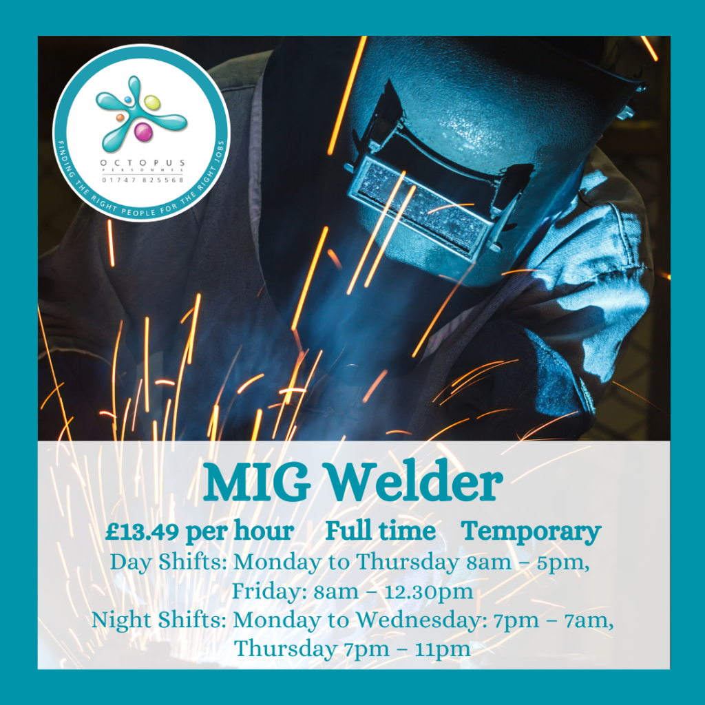 Person welding with protective mask on - MIG Welder Octopus Personnel Job Advert