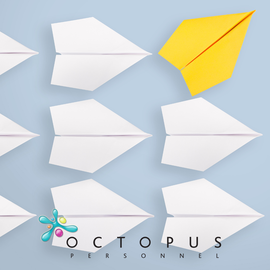 Image of paper aeroplanes, one yellow pointing a different way - Navigating the change to an Employer Driven Market