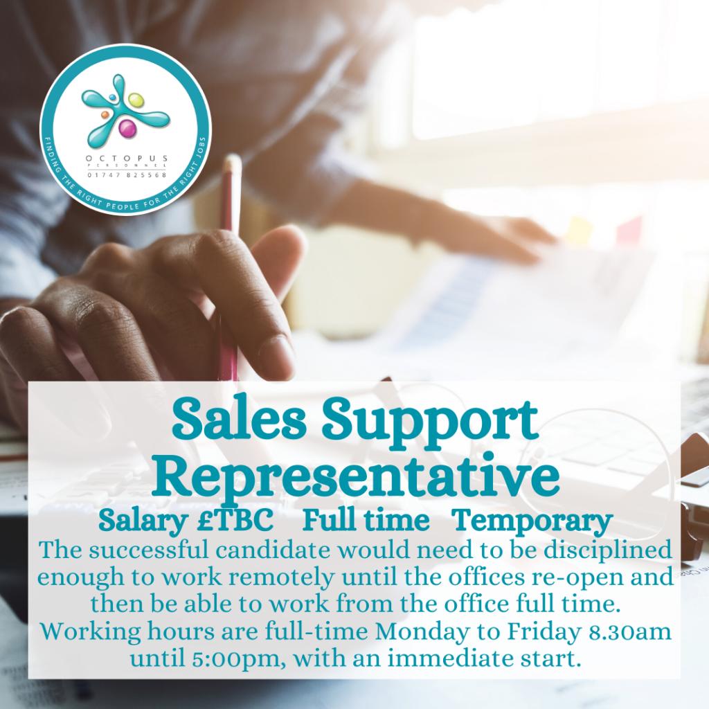 Sales Support Representative Octopus Personnel Job Advert
