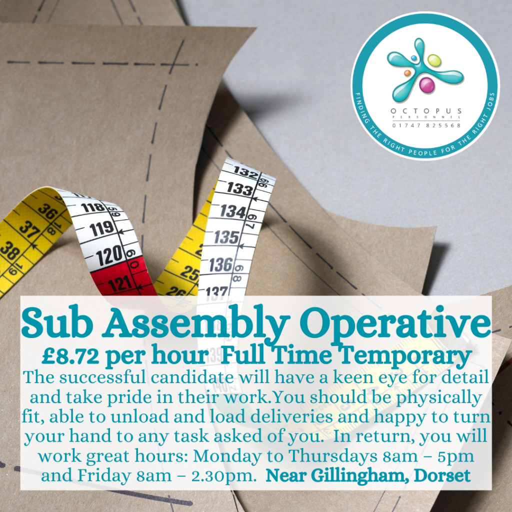 Sub Assembly Operative Octopus Personnel Job Advert