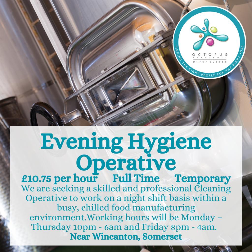 Evening Hygiene Operative Octopus Personnel Job Advert